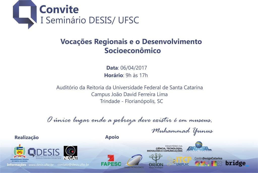 I Seminário DESIS: Vocações Regionais e Desenvolvimento Socioeconômico